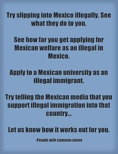 If you do not know these things, ask an illegal alien  Mexican.  They know exactly what would happen and they are laughing at us for letting them break OUR LAWS.
