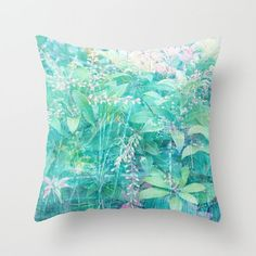 Abstract foliage pillow turquoise pillow aqua by NewCreatioNZ