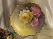 """""""TRIO OF ROSES"""" Antique Limoges France Hand Painted Roses Art Wall Plaque Charger Artist Signed """"Rene"""" Yellow and Pink Victorian Roses Highly Collectible Still Life China Painting Masterpiece Heirloom Circa 1900"""