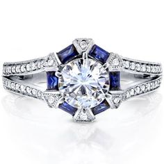 Shop for Annello by Kobelli 14k White Gold 1 3/5ct TGW Moissanite and Diamond with Sapphire Accents Art Deco Split Shank Ring. Get free delivery at Overstock.com - Your Online Jewelry Store! Get 5% in rewards with Club O! - 17310843