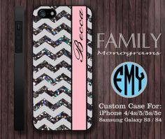 chevron glitter pink monogram hard plastic case by familymonogram, $15.99
