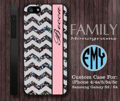 chevron glitter pink monogram hard plastic case by familymonogram, $15.99