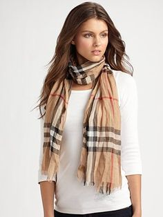 Burberry giant check crinkled gauze scarf.
