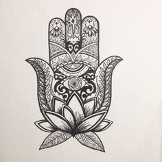Hamsa. Evil eye. Protection. Art. Lotus. Freehand. Drawing. @tiffanymontayre