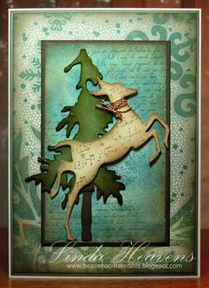 Tim Holtz - handmade Christmas/winter card with deer and tree die Christmas Cards 2017, Christmas Card Crafts, Christmas Deer, Xmas Cards, Christmas Greetings, Handmade Christmas, Holiday Cards, Holiday Ideas, Karten Diy