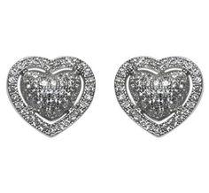 Veleda Modern Heart CZ Stud Earrings | Cubic Zirconia | Silver
