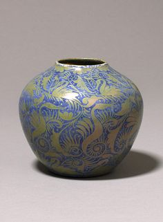 Vase, earthenware, painted in yellow lustre over blue glaze, William De Morgan, Fulham Factory, England, late 19th century
