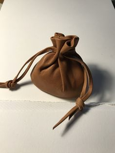 Leather Pouch, Leather Drawstring Pouch - Leather Bag, Coin Pouch, Caramel Leather Sack bag - Handmade in the USA By Shirlbcreationstoo Medicine Bag, Sack Bag, Drawstring Pouch, Pouch Bag, Leather Pouch, Leather Accessories, Italian Leather, Bucket Bag, Caramel