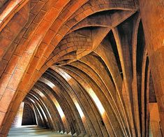 Casa Mila.  Attic of the house with exposed bricks in catenary-arch formation