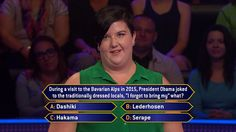 """Friday, Grace MacMillan goes to the #BavarianAlps with #PresidentObama on an all-new #MillionaireTV. Does the journey take her to the correct #FinalAnswer? Let us know if you know it, then catch Friday's """"Millionaire"""" with host Chris Harrison to see if Grace's answer is on the money. Find your station at MillionaireTV.com."""