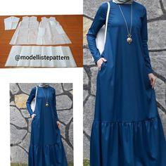 Gamis pattern 💕 . . Line Girl Dress Patterns, Skirt Patterns Sewing, Blouse Patterns, Clothing Patterns, Muslim Women Fashion, Islamic Fashion, New Dress Design Indian, Abaya Fashion, Fashion Dresses