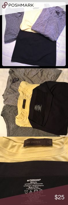 Maternity Bundle 1 Liz lange heather grey XS short sleeve top, 1 oh baby by motherhood small heather grey top, 1 yellow small limited 3/4 sleeve length top, 1 black belly band by motherhood. Norma wear from one pregnancy. Oh Baby by Motherhood Tops Tees - Short Sleeve