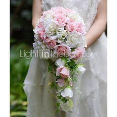 Fleurs de mariage Forme libre / Cascade Roses Bouquets Mariage / Le Party / soirée Satin / Soie / Organza de 5003651 2016 à €44.09