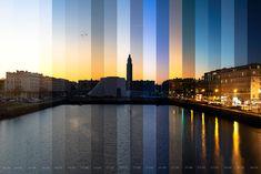 Nuances de lumières au sunset. 1 photo toutes les 5 minutes entre 16H30 et 18H10. Bassin du commerce au Havre Le Havre, Commerce, Marina Bay Sands, Sunset, Building, Travel, Shades, Plunge Pool, Viajes