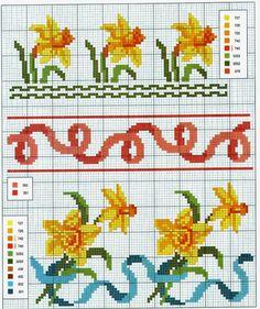 schema+a+punto+croce+bordi+e+cornici+-+narcisi.jpg (1343×1600)
