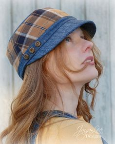 Denim Plaid Cap Hat in Blue and Gold by GreenTrunkDesigns on Etsy