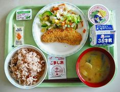 Kyushoku — Japanese School Lunch Japanese School Lunch, Family Meals, Kids Meals, Cute Food, Yummy Food, Food Humor, Asian Recipes, Food Photography, Food Porn
