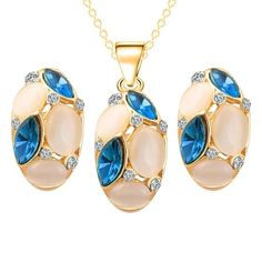 4df291d40 Classic Ruili Crystal Necklace Earrings Oval Shape Design Set