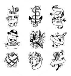 Old school tattoo element vector @creativework247