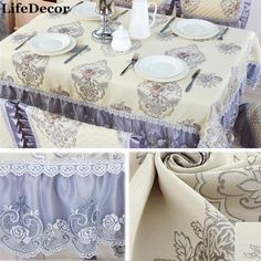 European Luxurious Tablecloths Dining Table Cover High Quality Christmas  Linen Cotton Dustproof Table Cloth For Home