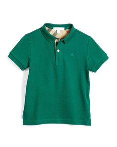 Short-Sleeve Pique Polo Shirt, Bright Green, Size 4-14, Size: 4, Brght Green - Burberry