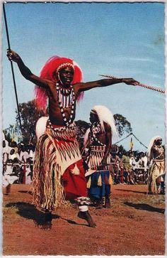 senegal.- dakar.- baile de tribus africanas.-  col. africa en colores.- años sesenta (Postales - Postales Extranjero - África - Senegal)