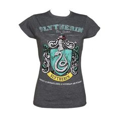 Ladies Charcoal Harry Potter Slytherin Team Quidditch T-Shirt ($63) ❤ liked on Polyvore