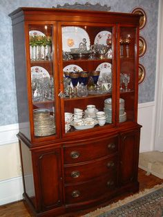 Decoration Ideas : Duncan Phyfe 9 Piece Mahogany Dining Room Set One Glass Buffet Antique, Antique Dining Rooms, Dining Room Hutch, Dining Room Furniture, Dining Table, Duncan Phyfe, 1940s, China Cabinet Display, Display Cabinets