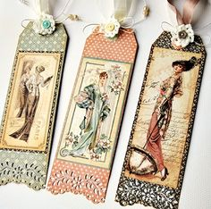 Ladies Diary by Graphic Bookmarks Graphic 45, Vintage Tags, Art Hama, Diy Bookmarks, Vintage Bookmarks, Book Markers, Handmade Tags, Card Tags, Gift Tags