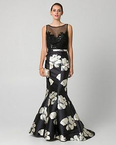 Floral Print Lace & Satin Illusion Gown - A show-stopping mermaid gown is designed to wow with an elegant illusion neckline, delicate lace bodice, and perfectly patterned flared skirt. Satin Dresses, Gowns, Bride Dresses, Black Mother, Mermaid Silhouette, Lace Jacket, Illusion Neckline, Mermaid Gown, Lace Bodice