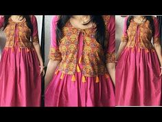 DIY:Kurti With Attached Koti (Jacket) Cutting and Stitching Very Easy Tutorial Saree Blouse Neck Designs, Kurta Neck Design, Dress Neck Designs, Fancy Dress Design, Girls Frock Design, Simple Kurti Designs, Kurta Designs Women, Stylish Kurtis Design, Stitching Dresses
