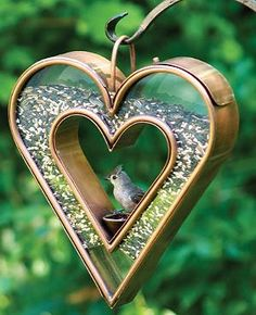 You'll want to hang this Fly-thru Heart Bird Feeder in a place that you can watch it all day.