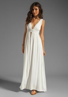 For Lou - for a casual, easy alternative, in the same vein as the style you want. This dress length is perfect for the setting, and to show off adorned feet. INDAH Anjeli Empire Maxi Dress in White - $158.26.