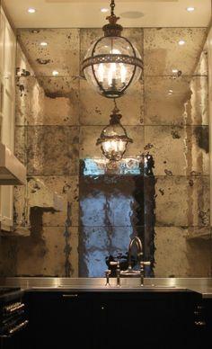 Antique mirrored backsplash, Dominic Schuster Ltd