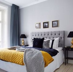 Attractive ... Bed, Bedroom, Black, Blue, Cozy, Curtains, Dark, Dark Blue, Gold, Grey,  Headboard, Interior, Lamp, Lamps, Love It, Painting, Pillow, Room, Wall,  Yellow