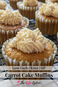 Keto Carrot Cake Muffins So healthy and delicious And YES - a small amount of carrots are STILL keto Low Carb Dessert Keto Muffins Visit Keto Cake, Cupcakes Keto, Low Card Desserts, Desserts Keto, Dessert Recipes, Holiday Desserts, Delicious Desserts, Keto Foods, Gourmet Recipes