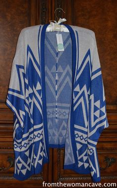 Stitch Fix Stylist, I like that this is similar to an aztec cardigan, but a kimono. I also am really liking the color and it looks super comfy!