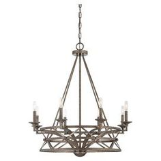 """Chandelier with an antiqued nickel finish and latticework frame.  Product: ChandelierConstruction Material: Metal Color: Antiqued nickelAccommodates: (8) 60 Watt bulbs - not includedDimensions: 34.5"""" H x 32"""" Diameter"""