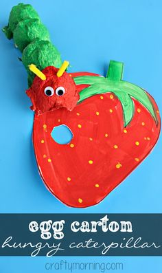 Egg Carton Hungry Caterpillar Craft for Kids to make! #Strawberry #EricCarle | CraftyMorning.com
