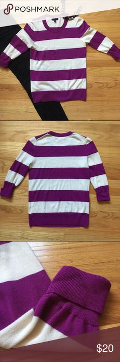 GAP striped lightweight sweater Lightweight sweater perfect for spring! 🌸  💜Bold purple and light cream/off-white stripes.  💜3/4 length sleeves with rolled cuff.  💜Classic crew neck.  💜 100% cotton  Worn once. In perfect condition! Size medium. GAP Sweaters Crew & Scoop Necks