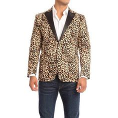 Verno Raneri Men's Leopard-print Slim fit Tuxedo Style Blazer, Size: 42L, Brown