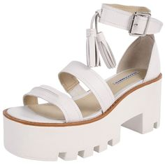 Windsor Smith Toughy featuring polyvore fashion shoes sandals white ankle strap sandals open toe sandals chunky heel platform shoes platform sandals leather platform sandals