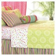 Lime green bedding can dress up a dorm room, too.