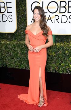 Golden Globes 2017: Fashion From the Red Carpet - Aly Raisman in a custom Rita Vinieris dress and Paul Andrew shoes