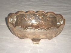 """CANDY DISH JEANETTE GLASS FLORAGOLD 5.25 X3.25X 2"""" IRIDESCENT AMBER LOUISA VINES   $25.00"""