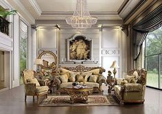 Formal Antique Style Luxury Sofa & Love Seat 5 Piece Living Room Set HD-369