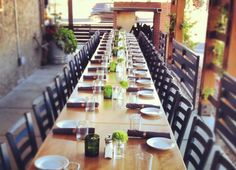 Patio set up for a group event - Beckett's Table