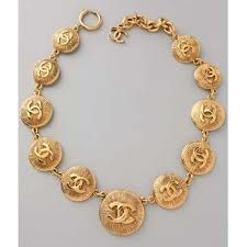 graduated gold coin chanel vintage necklace.