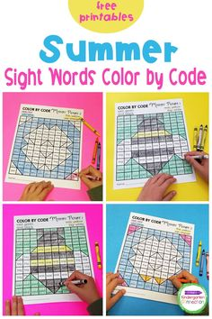 Teaching sight words in Kindergarten is so much fun once you have the right tools and resources! These free Summer Sight Word Color by Code Activity Printables are sure to get your students excited to practice reading sight words while solving the summer picture mysteries! Literacy Skills, Literacy Activities, Literacy Centers, Summer Activities, Kindergarten Sight Words List, Teaching Sight Words, Kindergarten Literacy, Kindergarten Independent Work, Sight Word Coloring