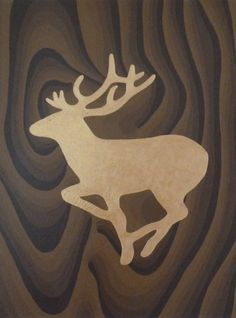 Gold stag silhouette with wood effect background. Acrylic on canvas.